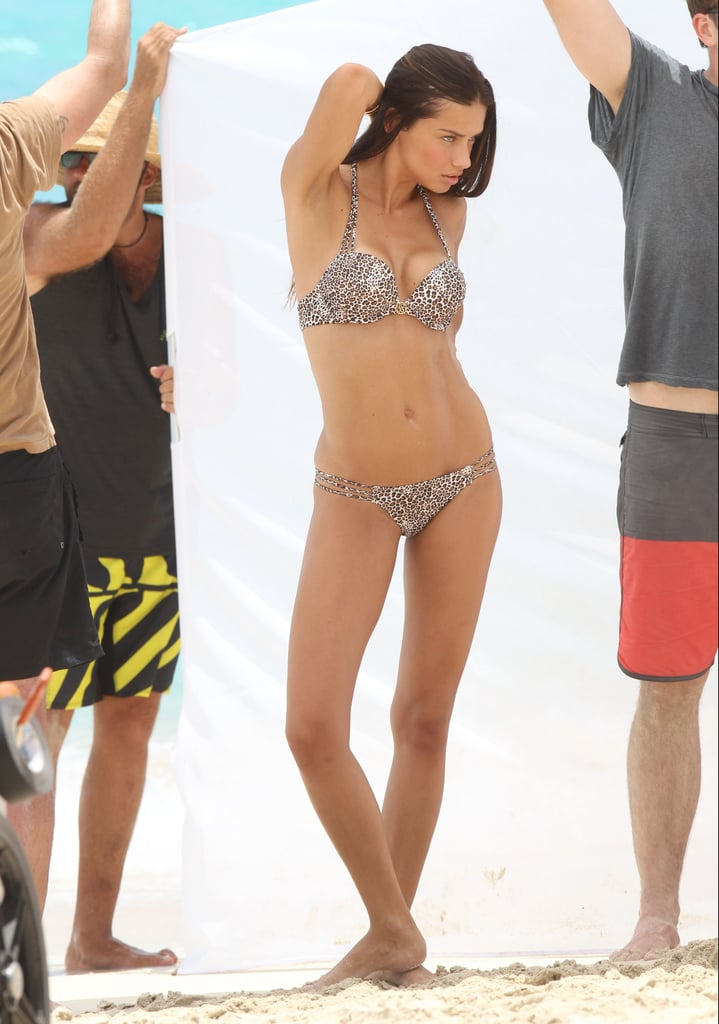 Adriana Lima wore a sexy two-piece for a shoot in St. Barts in May.