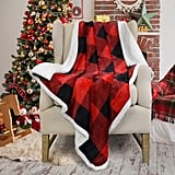 Christmas Red Buffalo Plaid Sherpa Throw Blanket