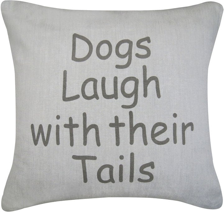Dogs Laugh Feather Decorative Pillow ($60)