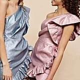 Topshop One-Shoulder Textured Mini Dress