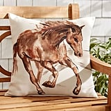Pottery Barn Outdoor Horse Print Pillow ($40)
