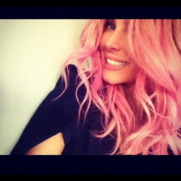 Jennifer Hawkins goes pink! Only for a minute, though — it's all in the name of her upcoming Lovable campaign.