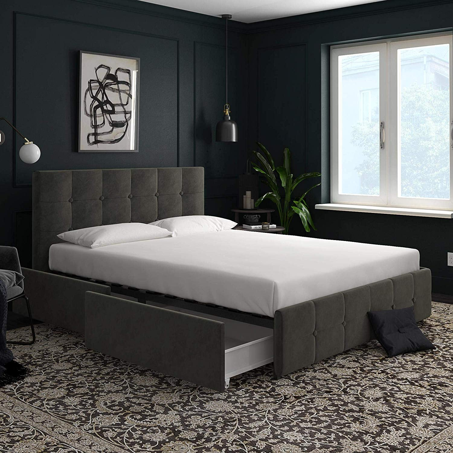 Grey Velvet Queen Upholstered Bed 14 Bed Frames Amazon Customers Can T Stop Buying Starting At Less Than 90 Popsugar Home Photo 8