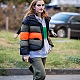 Winter Outfit Idea: A Sporty Puffer Over a Zip-Up Sweater