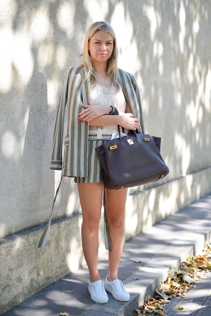 A short and jacket set is a warm-weather twist on the power suit.
