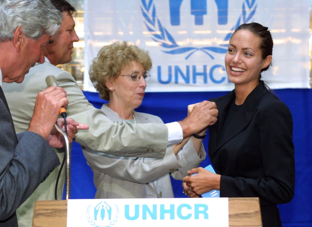 """In August 2001, Angelina Jolie was named a UNHCR goodwill ambassador for refugees. She said of the position, """"We cannot close ourselves off to information and ignore the fact that millions of people are out there suffering. I honestly want to help. I don't believe I feel differently from other people. I think we all want justice and equality, a chance for a life with meaning. All of us would like to believe that if we were in a bad situation someone would help us."""""""