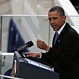 President Obama gave a speech during his inauguration.