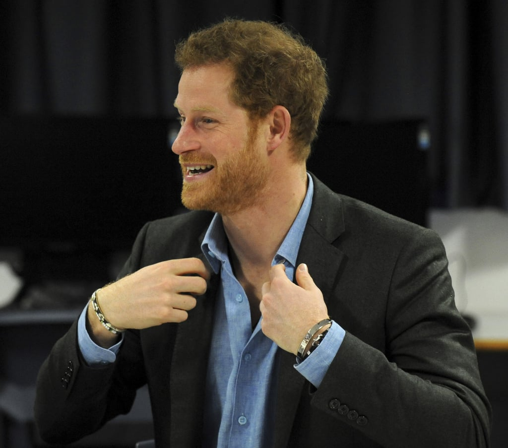 "If we could send Prince Harry a message, it would be this: ""We get it — your smile is enough to make any rational human being weak at the knees. You don't have to keep teasing us, ok?"" Unfortunately he has way more important things on his mind, like his recent trip to Nottingham, England on Wednesday for an official visit to the Full Effect and Coach Core projects. Like many of the other organizations Harry works with, these two groups are supported by The Royal Foundation to give young people better opportunities in life through mentoring, intervention, and training.  The ridiculously handsome royal had his trademark grin on display while giving a speech to the crowd, watching a few dance and musical performances, and personally presenting graduates of the program with their certificates. He also made time to chat with onlookers outside, and shared quite a few laughs with Trevor Rose, the manager of the Full Effect project. If you weren't sure what Meghan Markle saw in him before, these photos ought to do the trick."