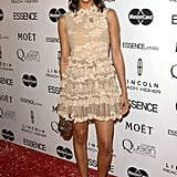 Zoe in nude lace Valentino at the Essence Black Women in Hollywood Luncheon.