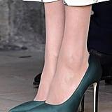 Meghan's Green Satin Heels