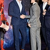 When he shook hands with Loki. . .