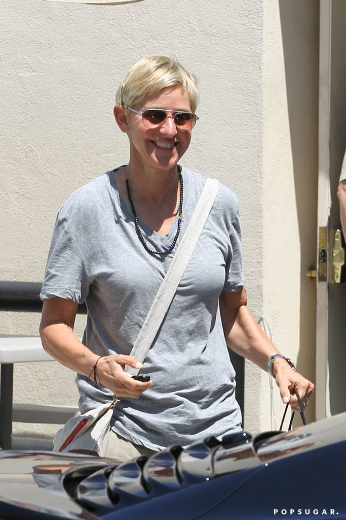 Ellen DeGeneres was all smiles after shopping in Beverly Hills on Friday.