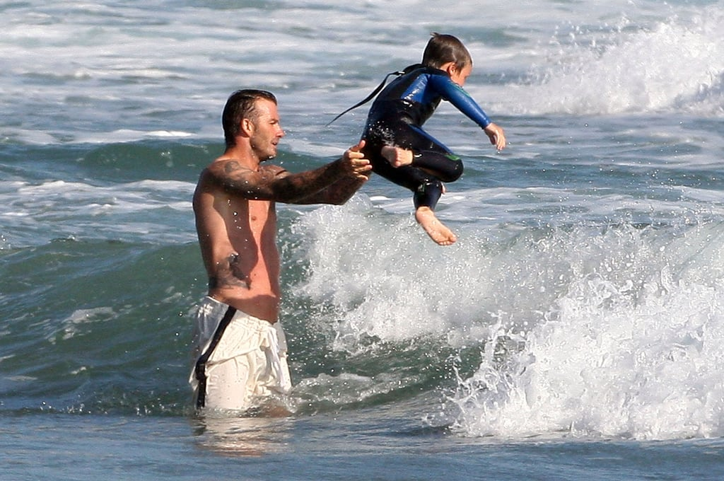 Shirtless David Beckham Gives Romeo a View From the Top During Another Malibu Beach Weekend