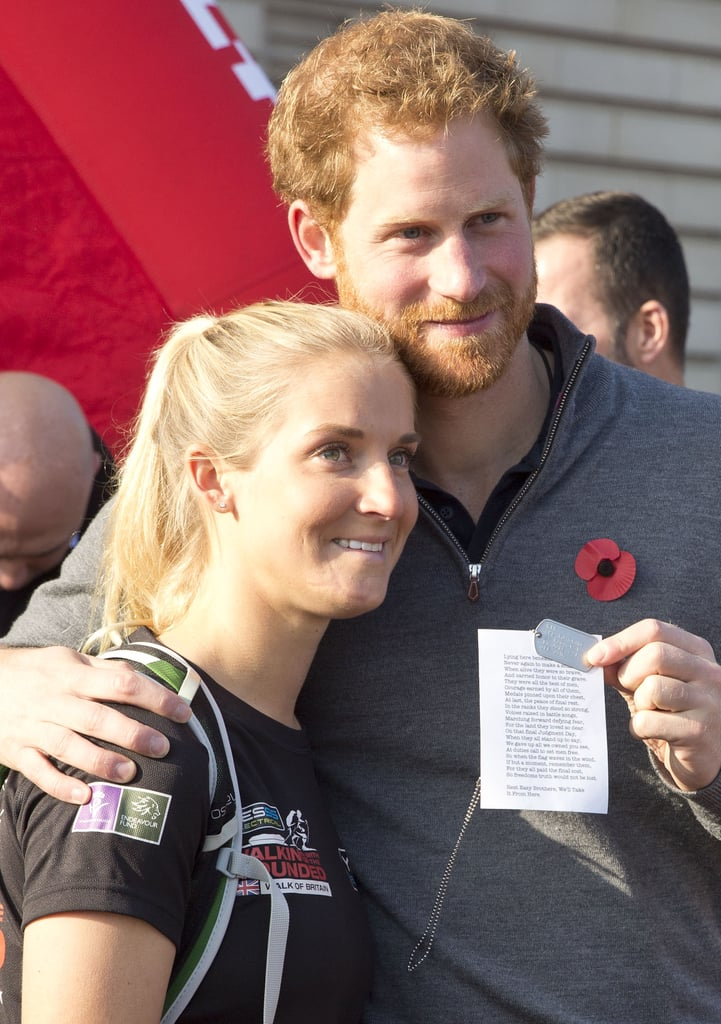 Prince Harry welcomed a group of six wounded Afghanistan veterans with a smile after they completed the Walk of Britain at Buckingham Palace on Sunday. Harry kept things casual in a grey sweatshirt and blue trousers for the outing, which involved an emotional U.S. Marine, Kirstie Ennis, who gifted Harry a dog tag as a token of her appreciation. The event was organised by Walking With the Wounded, a charity that benefits vets, and marked the end of a 1600km trek, which began in Scotland on Aug. 22.  Harry's appearance comes on the heels of a busy couple of weeks for the prince. After co-hosting the premiere of  Shaun the Sheep: The Farmer's Llamas with his brother Prince William and his wife, Kate Middleton, at BAFTA's London headquarters, the trio attended the world premiere of the new James Bond film, Spectre, at the Royal Albert Hall, and most recently, Harry met up with President Barack Obama for the first time to discuss his participation in the 2016 Invictus Games. Keep reading to see more pictures from Harry's latest outing, then hear the heartbreaking reason behind his charity work.