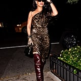 Rihanna Wears Leopard Print Dress and Snakeskin Boots