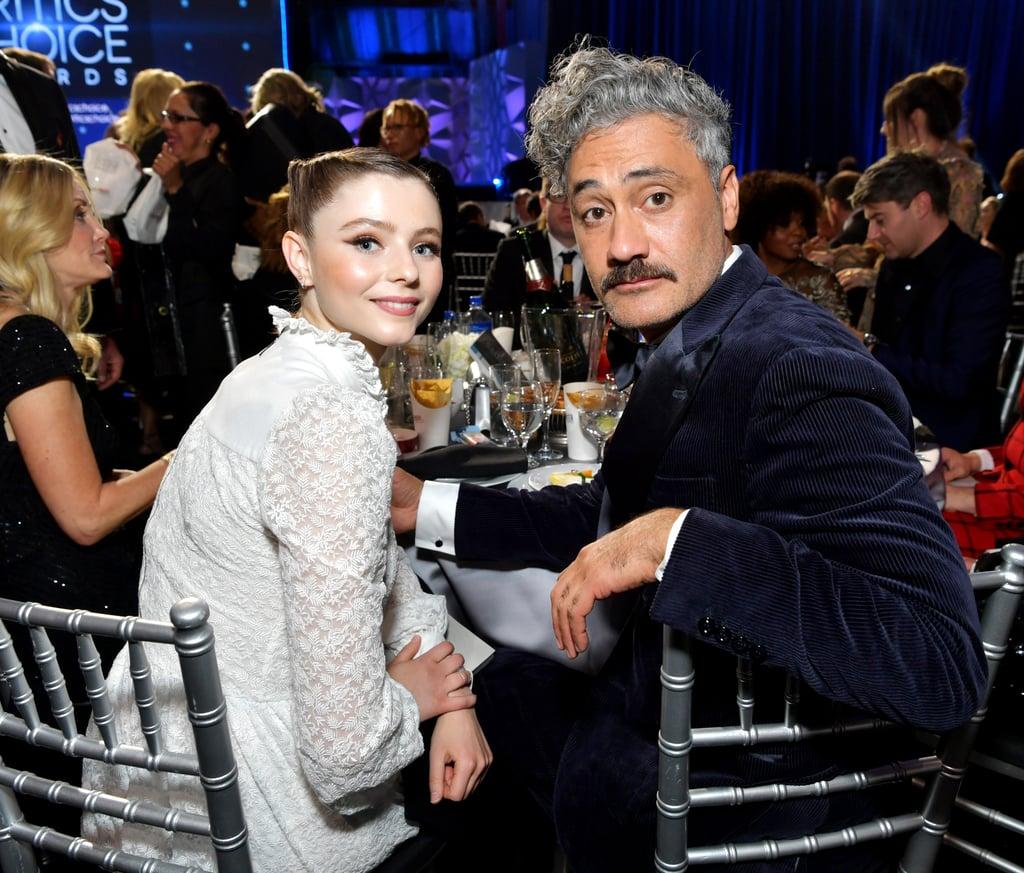 Thomasin Mckenzie and Taika Waititi at the 2020 Critics' Choice Awards