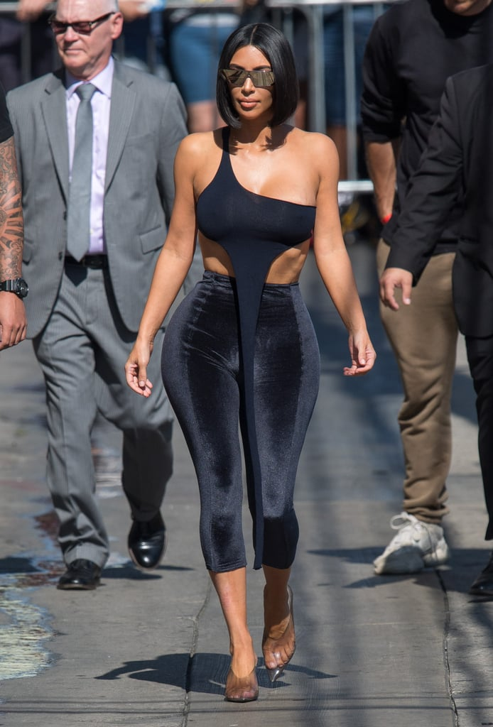 7932c8cfe5bbe Kim Kardashian s Velvet Pants and Crop Top on Jimmy Kimmel ...