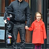Tobey Maguire held onto his daughter Ruby's hand while out in NYC on Saturday.
