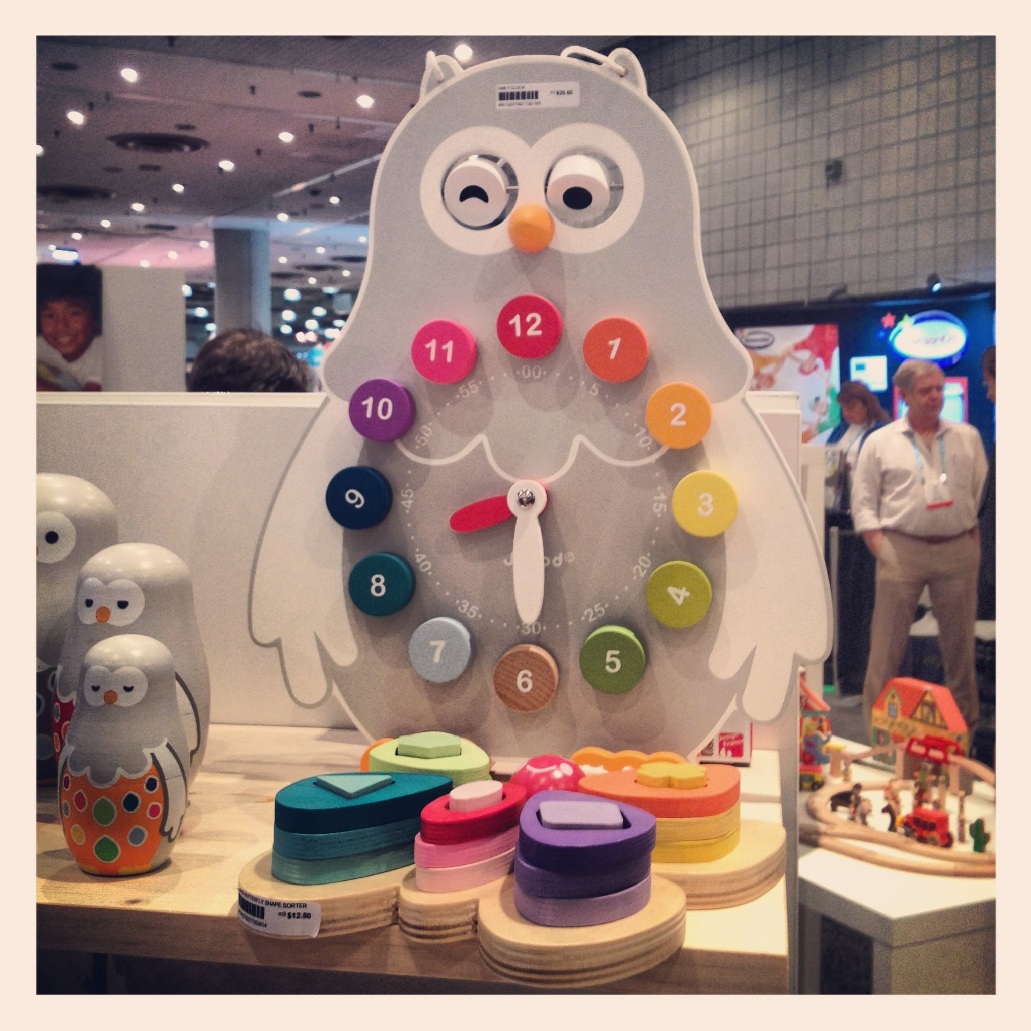 """The Janod """"Owly"""" clock looks like a great tool for teaching time."""
