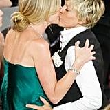 Ellen DeGeneres and Portia de Rossi kissed at the June 2008 Daytime Emmy Awards.