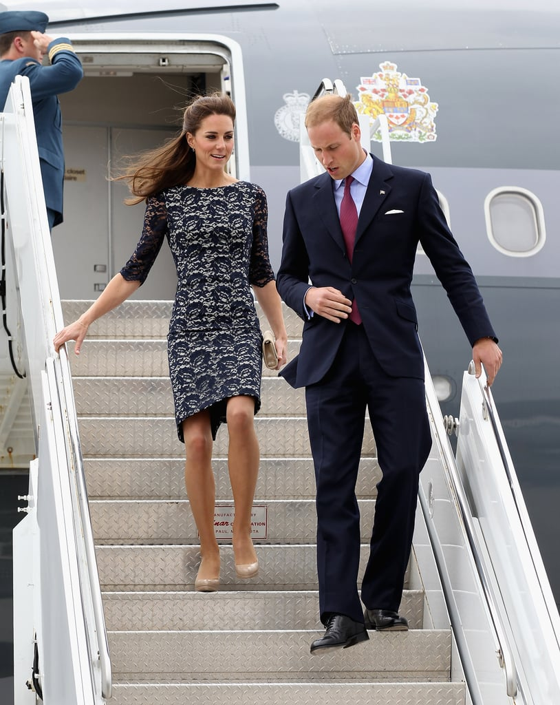 Prince William and Kate Middleton in Erdem Photos Arriving in Ottawa