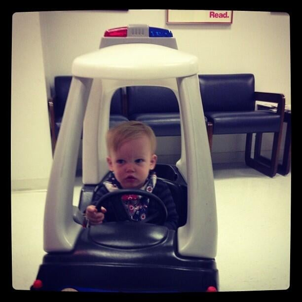Hilary Duff was pulled over by her little officer, Luca Comrie. Source: Twitter user HilaryDuff