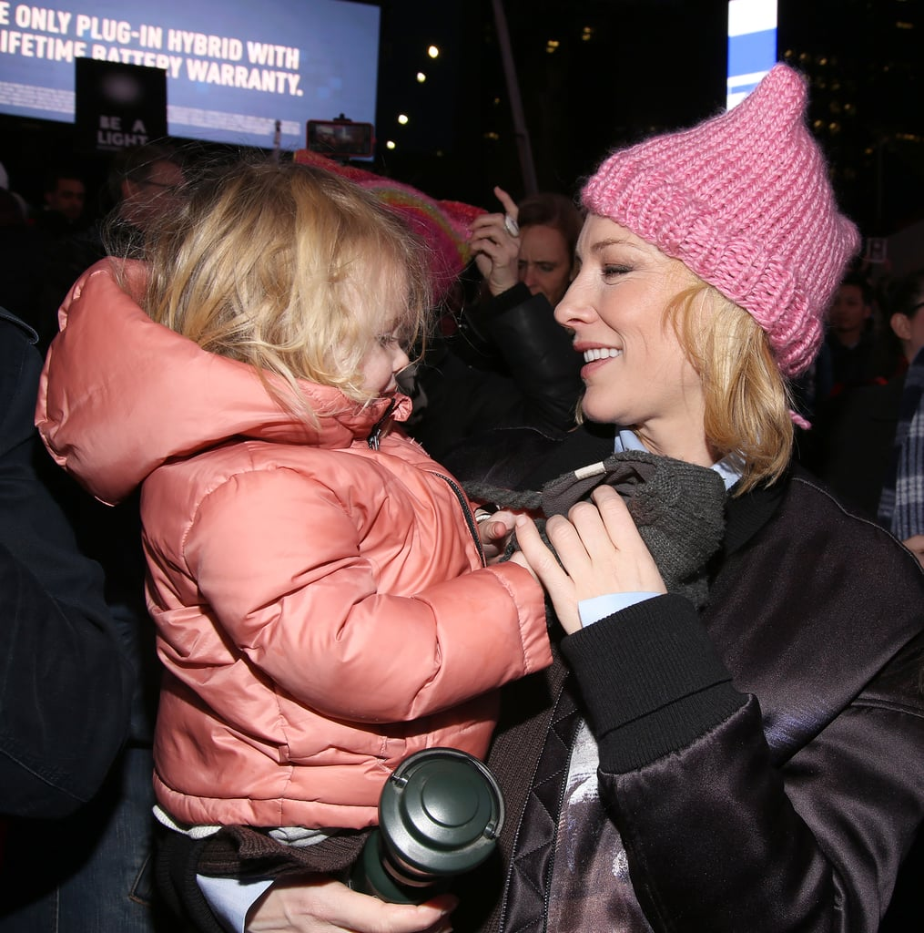 "Cate Blanchett turned a night out at a peaceful protest into a family affair. The Carol actress attended an event for The Ghostlight Project in Times Square on Thursday night with her baby daughter, Edith. The adorable pair mingled with the rest of the crowd, who were there to pledge their dedication to upholding values of inclusion and compassion for everyone, regardless of race, religion, gender identity, sexual orientation, or immigration status. Cate, wearing one of the pink ""pussyhats"" many expect to see at Women's Marches all over the country on Saturday, shared a few giggles with Edith (who held onto a tiny lantern as a symbol of the project). Across the city, celebrities like Mark Ruffalo, Cher, and Julianne Moore also protested the incoming administration at a star-studded rally.       Related:                                                                Cate Blanchett's Son Is Totally Mesmerized by the New York Knicks' Cheerleaders                                                                   Cate Blanchett Teams Up With Jimmy Fallon For a Hilarious Duet of ""Reunited"""