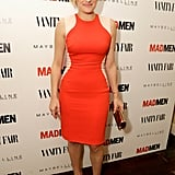 Elisabeth Moss put her curves front and center in a form-fitting colour-block dress and pointy pumps at the Vanity Fair and Maybelline pre-Emmys party in honor of Mad Men.