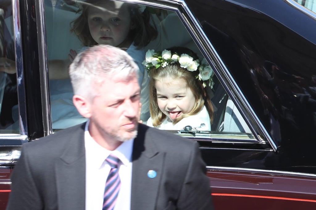 Princess Charlotte Sticks Her Tongue Out at Royal Wedding