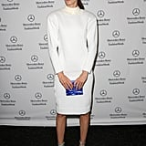 While taking in the Lacoste Spring 2014 collection, Hanneli Mustaparta struck a pose in white.