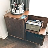 Of course, the bar also includes a cool vintage-looking speaker, designed specifically for the Thompson by Marshall, and a couple vinyl records from Jack White's Third Man Records available for purchase.