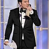 Ludovic Bource kissed his Golden Globe.