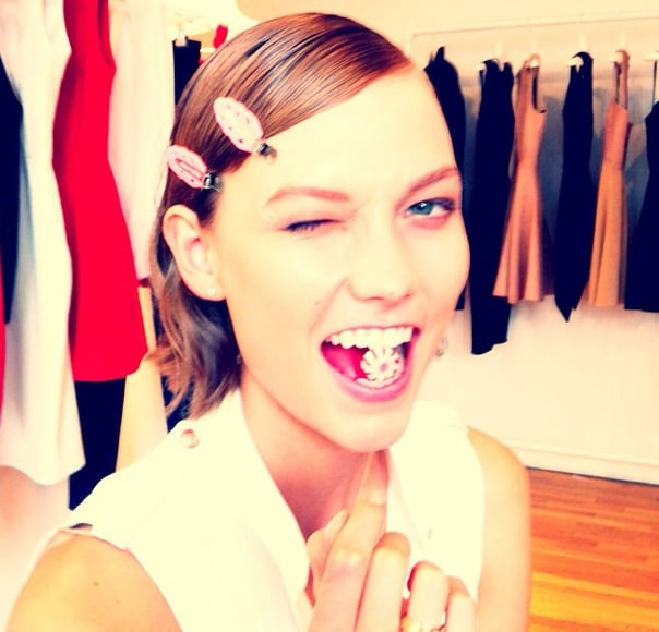 Karlie Kloss gave a knowing wink while getting ready with Cushnie et Ochs.  Source: Instagram user TheCoveteur