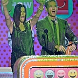 Sandra Bullock and Neil Patrick Harris were covered in slime at the Kids' Choice Awards in March 2013.