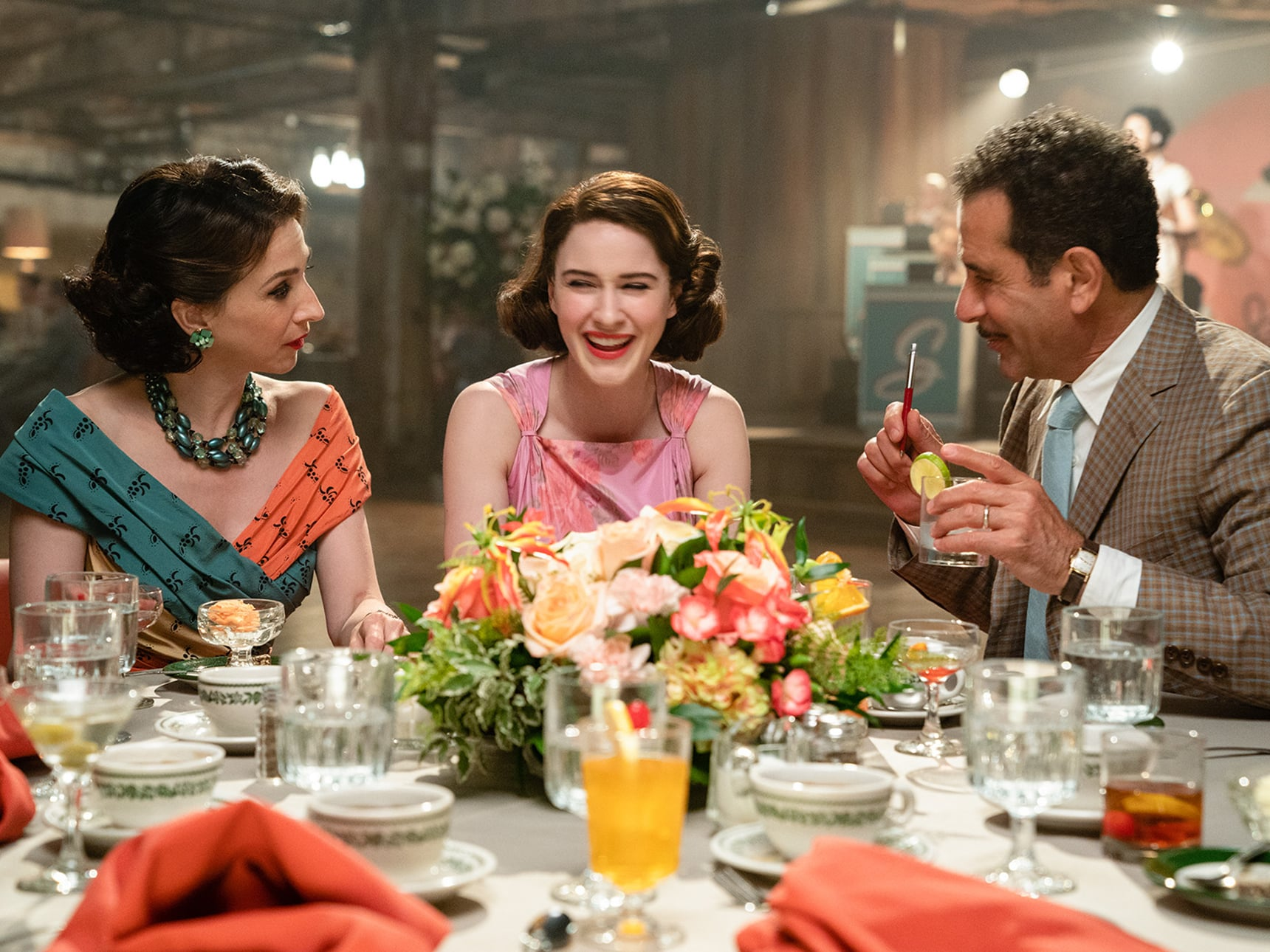 THE MARVELOUS MRS. MAISEL, from left: Marin Hinkle, Rachel Brosnahan, Tony Shalhoub, 'We're Going To The Catskills!', (Season 2, ep. 204, aired Dec. 5, 2018). photo: Nicole Rivelli / Amazon / Courtesy: Everett Collection
