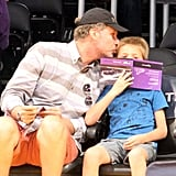 Will Ferrell gave his son Mattias a cute peck at an LA Lakers home game in October.