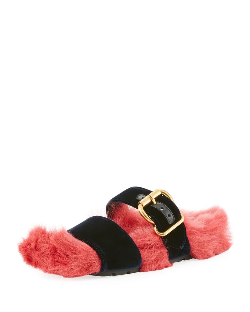 377fe969556 Prada Fur Velvet Slide Sandal