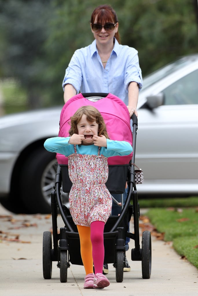 Alyson Hannigan's daughter Satyana Denisof made a silly face in Santa Monica, CA, while on a walk.