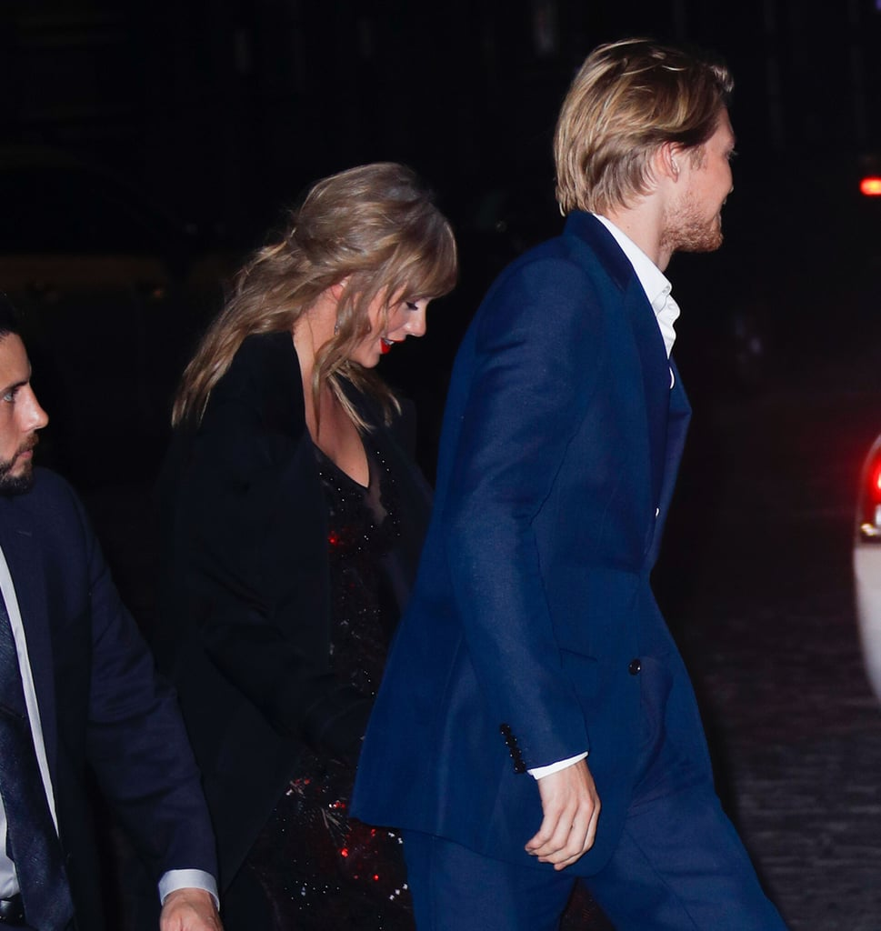 Taylor Swift recently took a break from her busy Reputation stadium tour to show support for her beau, Joe Alwyn. The 28-year-old singer showed up to the New York Film Festival premiere of Joe's movie The Favourite on Sept. 28, which is rumored to be the couple's anniversary. While the two didn't walk the red carpet together, they left hand-in-hand in a rare show of PDA.  Taylor chose a sparkling body-hugging red and black gown for the special occasion, and Joe opted for a dashing blue suit. While it's clear she was there to cheer on the English actor, this premiere also reunited her with old friend (and Joe's costar) Emma Stone, and she spent time chatting with other attendees, like Jennifer Lawrence.  Joe and Taylor have kept their relationship private since their relationship was first confirmed in 2017, but every so often we get sweet peeks at their fairy-tale romance. Call it what you want to, but it looks like these stars are smitten. See more photos from their glamorous date night ahead.      Related:                                                                                                           Taylor Swift Serenading Joe Alwyn During Her Concert Shows Just How in Love These Two Are