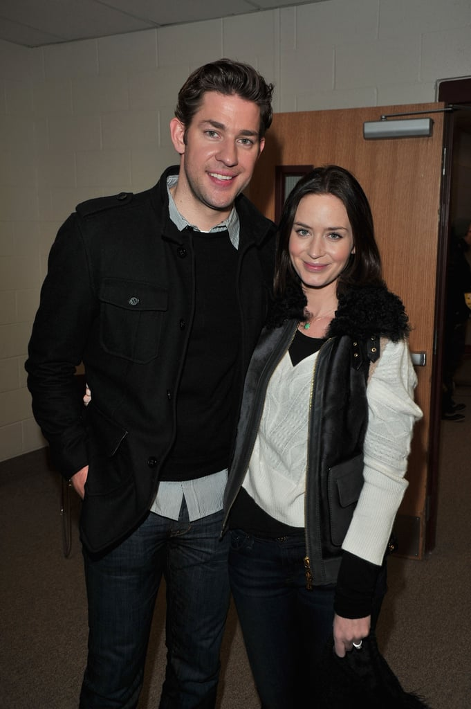 John Krasinski and Emily Blunt came to the Sundance Film Festival with different movies, but the happily married twosome met up yesterday to support each other's projects. John is in Park City to debut Nobody Walks, and Emily snuck into the theater to watch the premiere with him on Sunday. John missed Emily's Your Sister's Sister since he was back in LA doing promotional work for Big Miracle. John's Sundance movie had him working alongside Olivia Thirlby and Rosemarie DeWitt, who is actually in both of the Blunt-Krasinski films. On the red carpet, Rosemarie joked that she usually prefers to work with the husband half of a couple first, but this time she was happy to have played Emily's sister before having to tell her she'd be making out with her husband.   Check out all of our Sundance Film Festival coverage!
