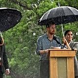 Meghan Markle Holding Prince Harry's Umbrella October 2018