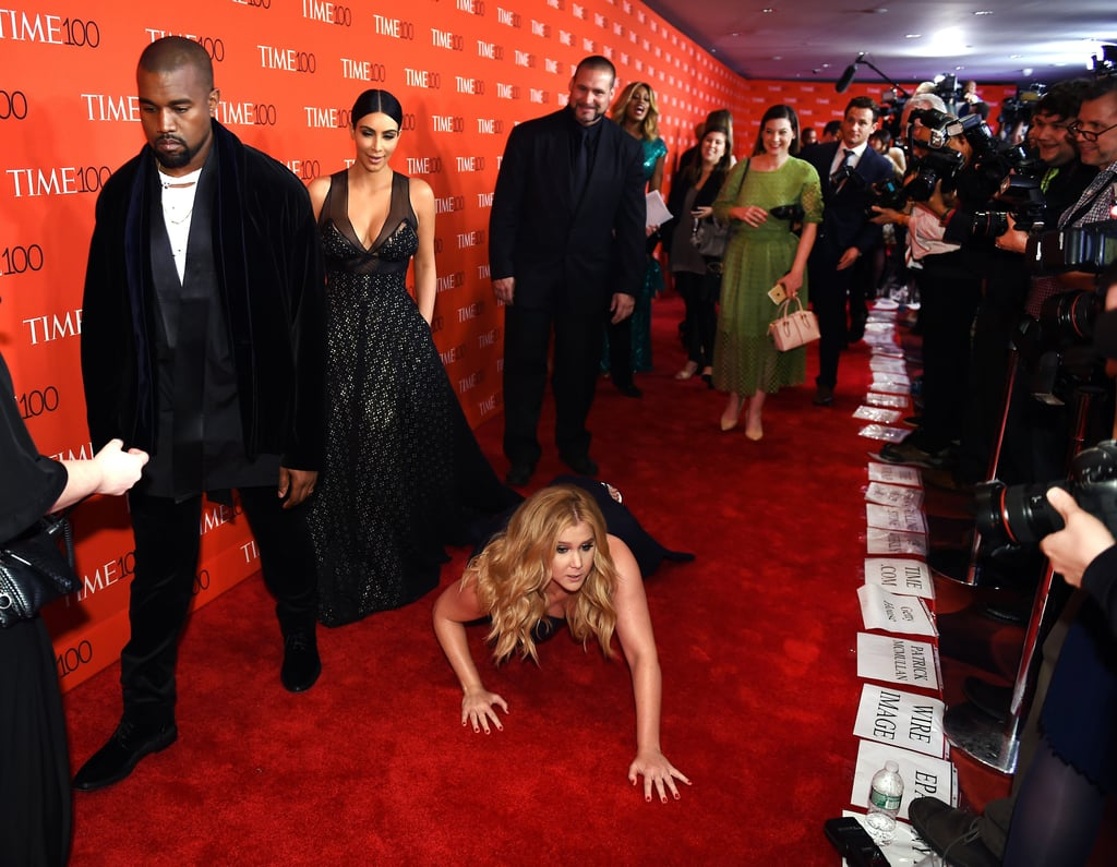 Amy Schumer Falling on Time 100 Red Carpet   Kim Kardashian