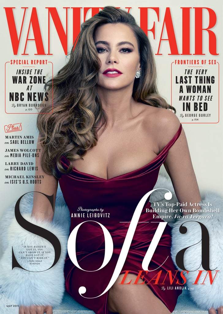 """Sofia Vergara covers Vanity Fair's May issue, and in the interview, she opens up about everything from her role on Modern Family to her handsome other half, Joe Manganiello. She joked, """"There's nothing about him I'd change other than the fact that he's four years younger than me."""" The actress also dished on a few details related to how they met, saying that on the same day she sent a press release announcing her breakup with Nick Loeb, Joe reached out to her Modern Family costar Jesse Tyler Ferguson to ask for her number. She said, """"I'm like, 'Jesse, no, he's too handsome.' Then after two days of Jesse trying to convince me, I'm like, 'Okay, give him my number.' I'm thinking, I'm in New Orleans shooting and he's in LA. Nothing's going to happen."""" She added, """"But we started talking a lot, and then he showed up in New Orleans. Since then we've been inseparable."""" Sofia's candid quotes don't stop there, though. She also opened up about her body, saying, """"My boobs are, like, huge. My whole life, buying a bra was a nightmare . . . Believe me, I wish I had fake boobs. I lay down and they completely go down like all the way, like here. It's not fun."""" Read more in the May issue of Vanity Fair, then check out Sofia and Joe's supersweet snaps from the SAG Awards earlier this year, plus all the times we coveted Sofia's hair."""