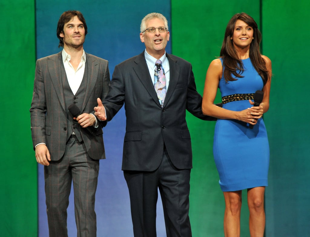 Nina Dobrev and Ian Somerhalder reunited on stage for The CW's upfronts in NYC after announcing their split.