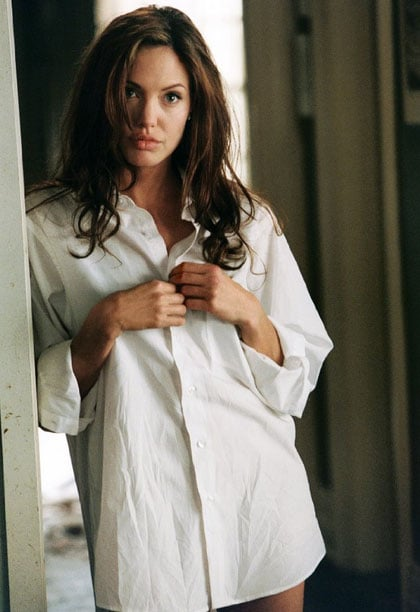 Angelina Jolie wore a simple white shirt in 2005's Mr. & Mrs. Smith. Photo courtesy of Twentieth Century Fox