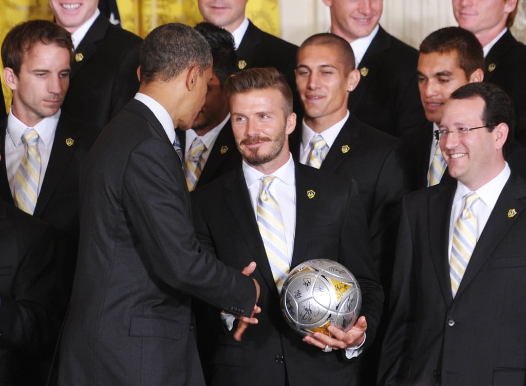 David Beckham shook hands with President Obama when the LA Galaxy visited the White House in May 2012.