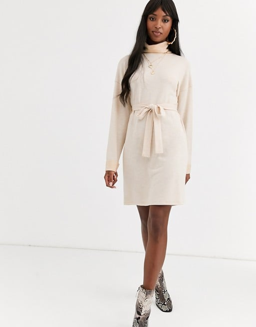 ASOS Design Tall Cowl Neck Belted Midi Dress