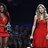 2009: After Kanye West wouldn't let Taylor Swift finish her acceptance speech for best female video, Beyoncé let her finish.