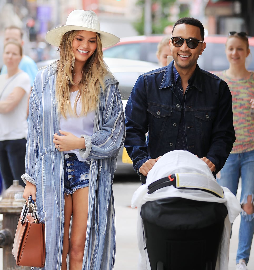 """Chrissy Teigen and John Legend became parents in April when their adorable daughter, Luna, was born, and between spoiling us with heart-melting social media photos of the little one, the couple have also been making parenthood look incredibly sexy. Since Luna's birth, Chrissy and John haven't shied away from spending time out and about together, from casual outings with their baby to dressed-up date nights in the city — and even though some internet commenters criticized Chrissy for daring to leave the house with her husband, it didn't take long for John to defend his model wife via social media. """"DILF,"""" indeed. We've rounded up John and Chrissy's stylish, sexy, and sweet moments since becoming a dad and mom. Scroll through to see just how hot they're making parenthood look these days."""