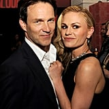 Cute couple Stephen Moyer and Anna Paquin stayed close at the Season 6 premiere of their TV show True Blood on June 11.